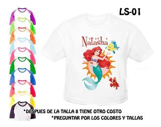 La Sirenita Franela Camisa Personalizada Niñas Princesas