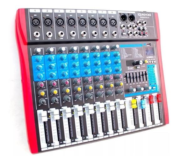 Mesa De Som 8 Canais Soundvoice Ms802eux Equalizador E Usb