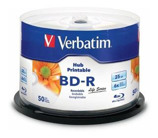 Bd-r Bluray Inkjet 25gb Cake X50u Verbatim