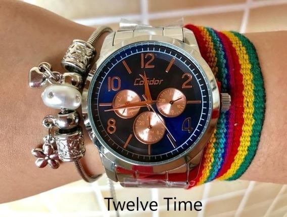 Relógio Condor Feminino Prateado Multifunção Co6p29ij/3a Com Pulseira De Brinde - Original Nfe - Tamanho Grande - 5atm