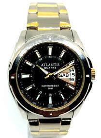 Relógio Masculino Atlantis G3121 Prata Fundo Preto