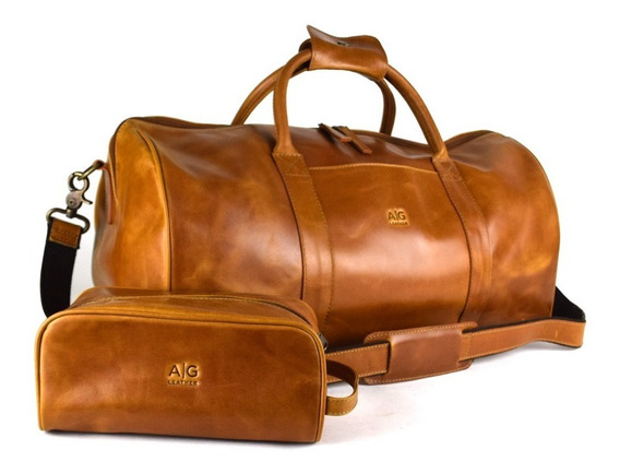 Maleta Duffel Bag Woge Grande 100% Piel Miel Estuche Gratis!