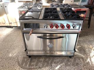 Cocina Industrial 97cm Inox 4 Hornalla + Plancha Y Carlitera