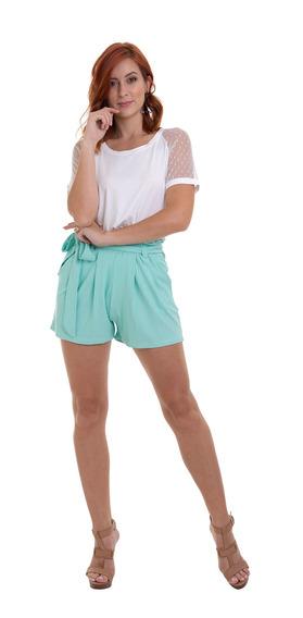Shorts Malha Canelada Com Faixa Verde Kinara
