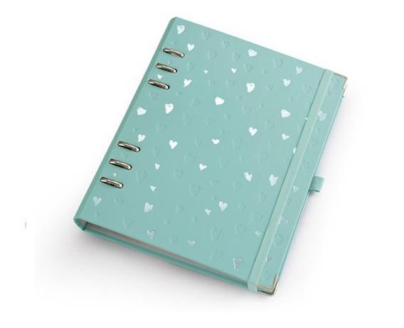 Caderno A5 Com Ferragem Romantic Turquesa - Ótima Gráfica