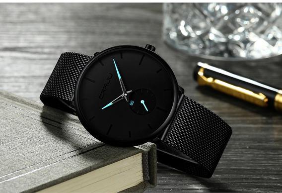 Relógio Masculino Crrju Ultra Fino Original Quartz Luxo