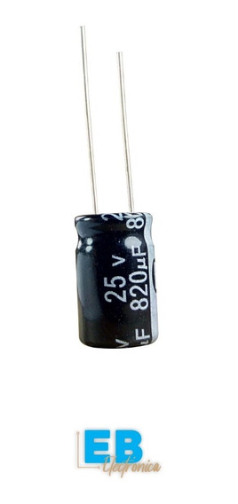 Capacitor Electrolitico 820uf X 25v 105° 10x17mm X 10 Un.
