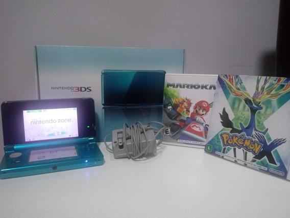 Nintendo 3ds Aqua Blue + 02 Jogos + Base Carregadora