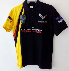 Playera Polo Corvette Racing Mobil1 Michellin Negra Caballer