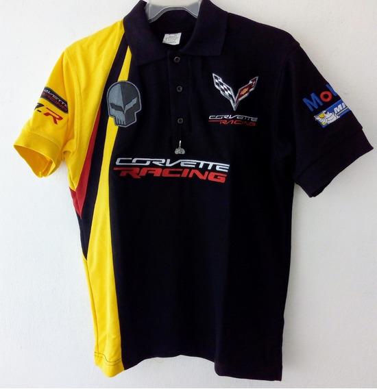 Playera Polo Corvette Racing Mobil1 Michellin Negra 2xl
