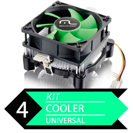 Kit 4 Cooler Unil Amd E Intel Multilaser Ga120 - Baixo Ruído