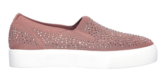 Skechers Poppy Slip On Rosa Brillos Casual Mujer Memory Foam