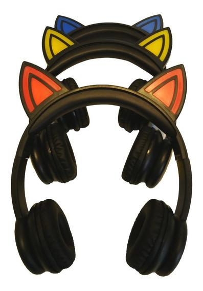 Fone De Ouvido Headset Orelha De Gato Com Led Celular P2
