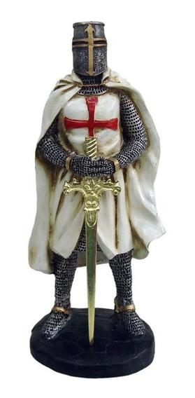 Guerreiro Templário Cruz Vermelha Espada Medieval Estatua