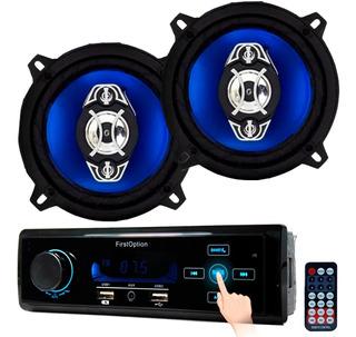 Mp3 Rádio Carro Bluetooth Usb Sd Aux + 2x Falante 5 Pol