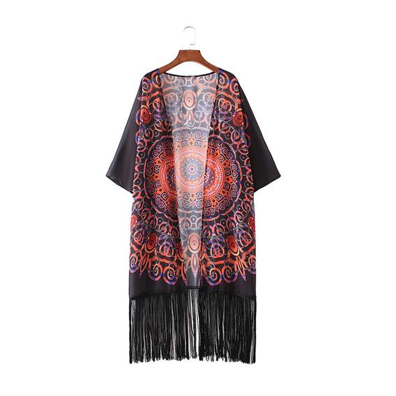 Vintage Estampado Geomtrico Gasa De Las Mujeres Del Kimono