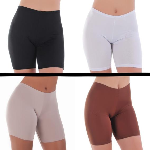Short Para Usar Embaixo Da Saia E Vestido - Kit C/ 4 Bermuda