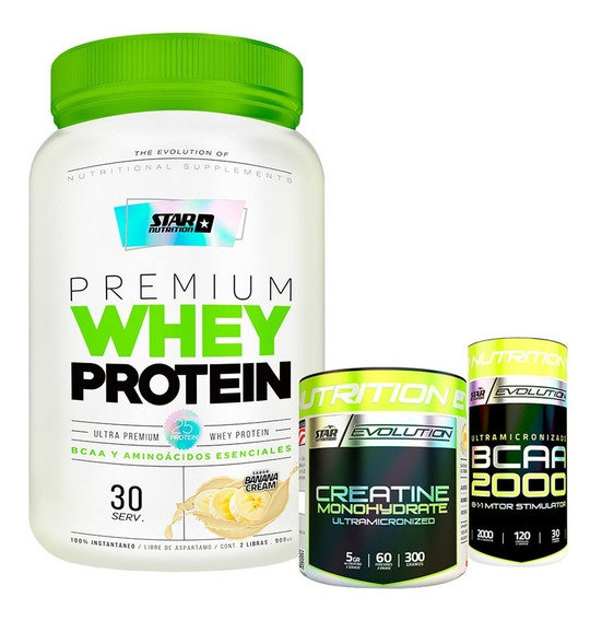 Whey Protein Star Nutrition 2lb+creatina 300gr+bcaa 2000 Adn