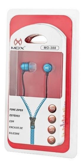 Fone De Ouvido P2 Ziper Estéreo Azul Mo-388 Mox
