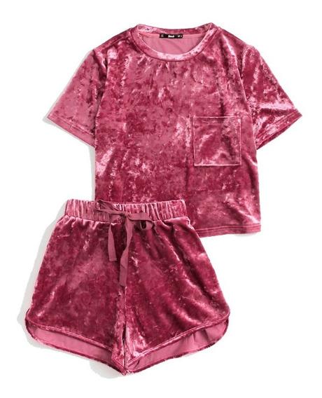 Conjunto Para Dama Purpura Blusa Y Short Terciopelo