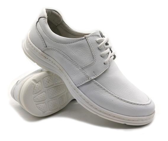 Sapato Masculino Confort Ortopedico Flex Leve Em Couro 2712