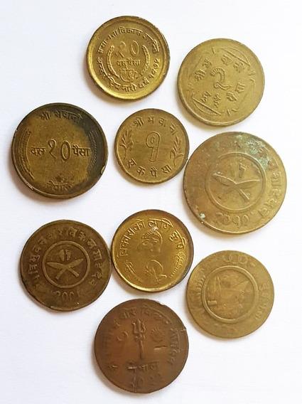 Ch C / Nepal, Lote X 9 Monedas Diferenes