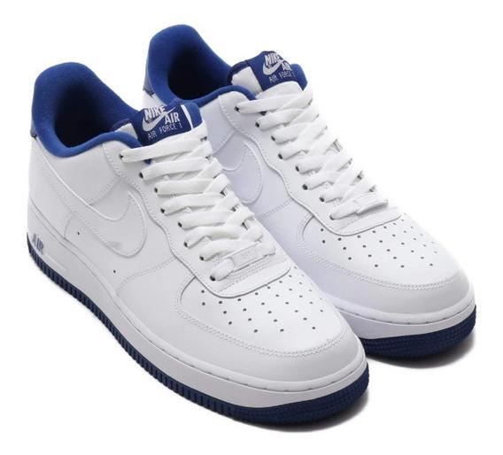 Tenis Nike Air Force 1 ´07 Blanco Azul Originales En Caja