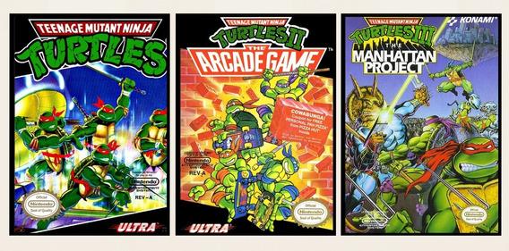3 Poster Placa Decorativa Trilogia Tartarugas Ninja Nintendo