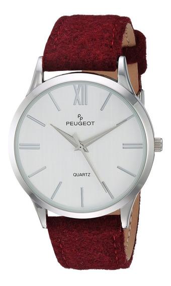 Peugeot Unisex Reloj Diseño Moderno Elegante Correa De Lana