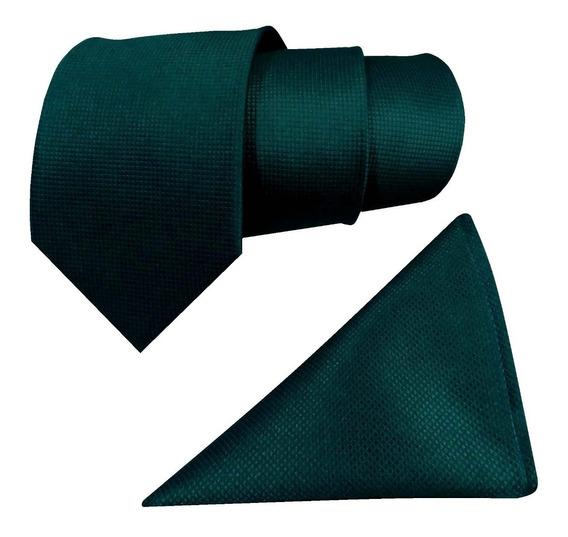 Corbata Verde Esmeralda Y Pañuelo Jacquard Micro Cuadros