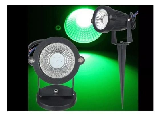 Kit 8 Espetos Luminaria Jardim Refletor Led Cob 10w Verde
