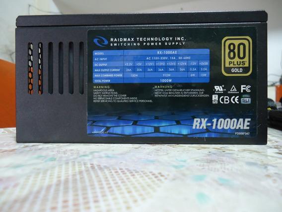 Fonte Atx Raidmax 1000w Modular 80 Plus Gold Rx-1000ae 100%