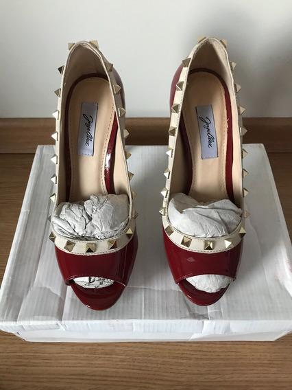 Sapato Peep Toe Couro Verniz Vermelho Jorge Alex Tamanho 35