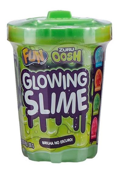 Pote De Slime - 380 Gr - Glowing Slime - Verde - Fun