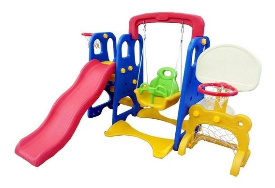 Playground Infantil 5x1 Gol Escorregador Balanço 2 Cestas