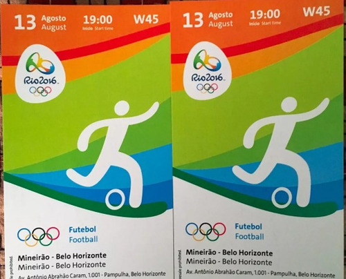 2 Ingressos Olimpíadas Futebol Bh Mineirão Coreia X Honduras