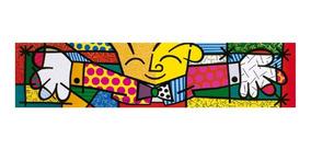 Quadro Abraço The Hug Romero Britto - Pintado A Mão 40x150cm