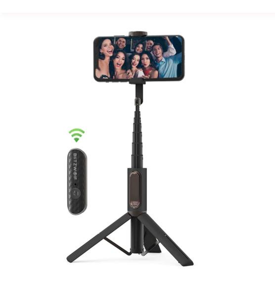 Pau Selfie Tripé Blitzwolf Bw Bs10 Controle Bluetooth Preto