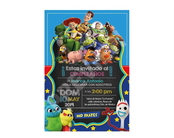 Invitacion Dig Toy Story 4 Forky & Betty Boop Para Fiesta