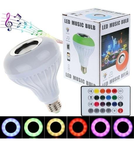Lampara Led Rgb 7w E27 + Parlante 3w Bluetooth + Control Rem