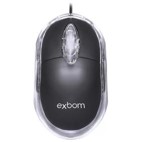 Exbom Mouse Óptico Usb Black Led Azul