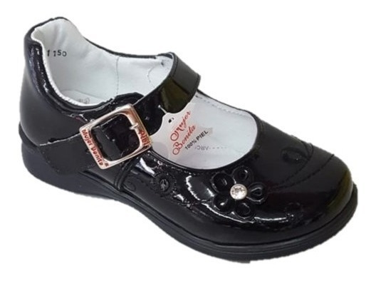 Zapato Escolar Niña Charol Piel Negro Broche