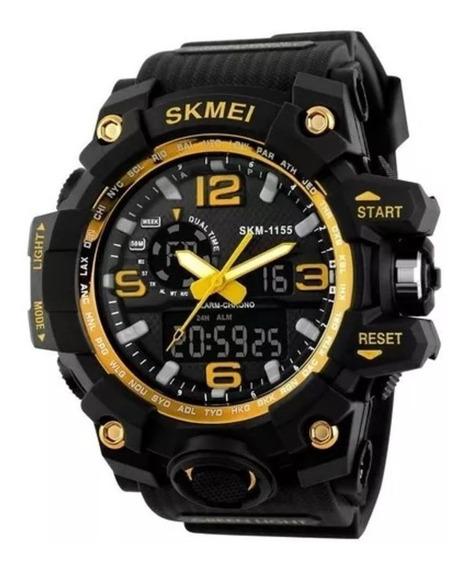 Relógio Masculino Skmei Anadigi 1155 Pt/dourado