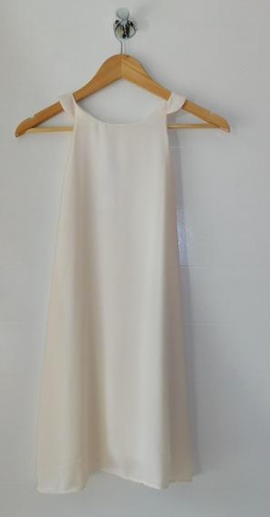 Vestido Mujer Blanco Natural Cuello Americano Liso Cuotas