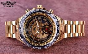 Relógio Skeleton Winner Mecanico Automático De Aço Dourado