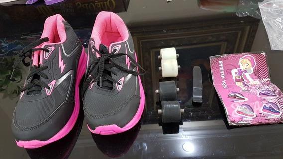 Tênis Mini Pé De Rodinha Removível Pink Tamanho 34