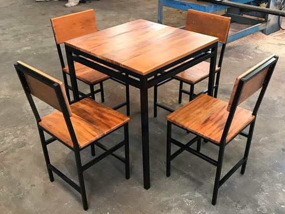 Jogo De Mesa Com 4 Cadeiras Para Hamburgeria, Restaurante