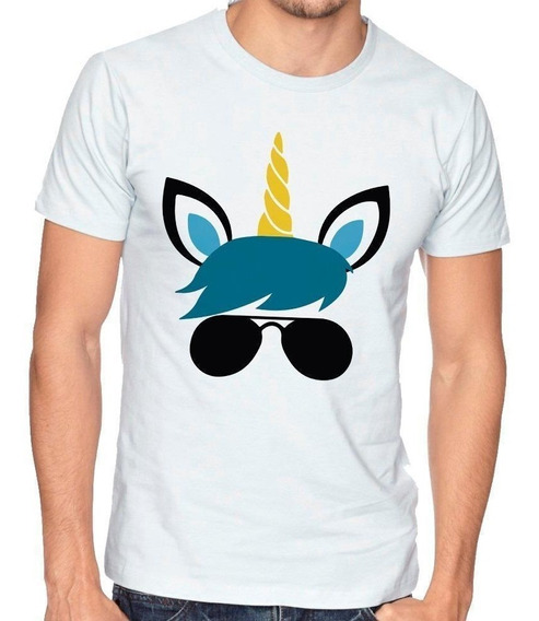 Playera Camiseta Hombre Niño Unicornio Lentes Rock #424