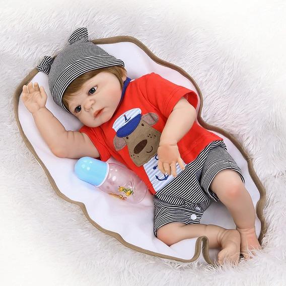 Boneco Grande Bebê Reborn Menino-silicone Mole-pode Molhar