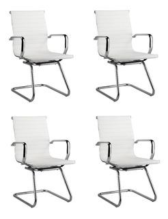 Kit 4x Cadeira Fixa Interlocutor Escritório Eames Esteira